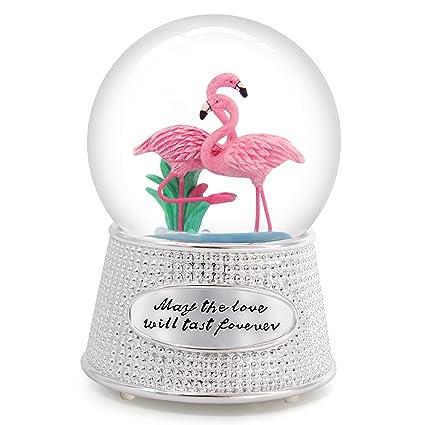 751b17cfd219b Amazon.com: QTMY Musical Snow Globes Pink Flamingo Ornament Music ...