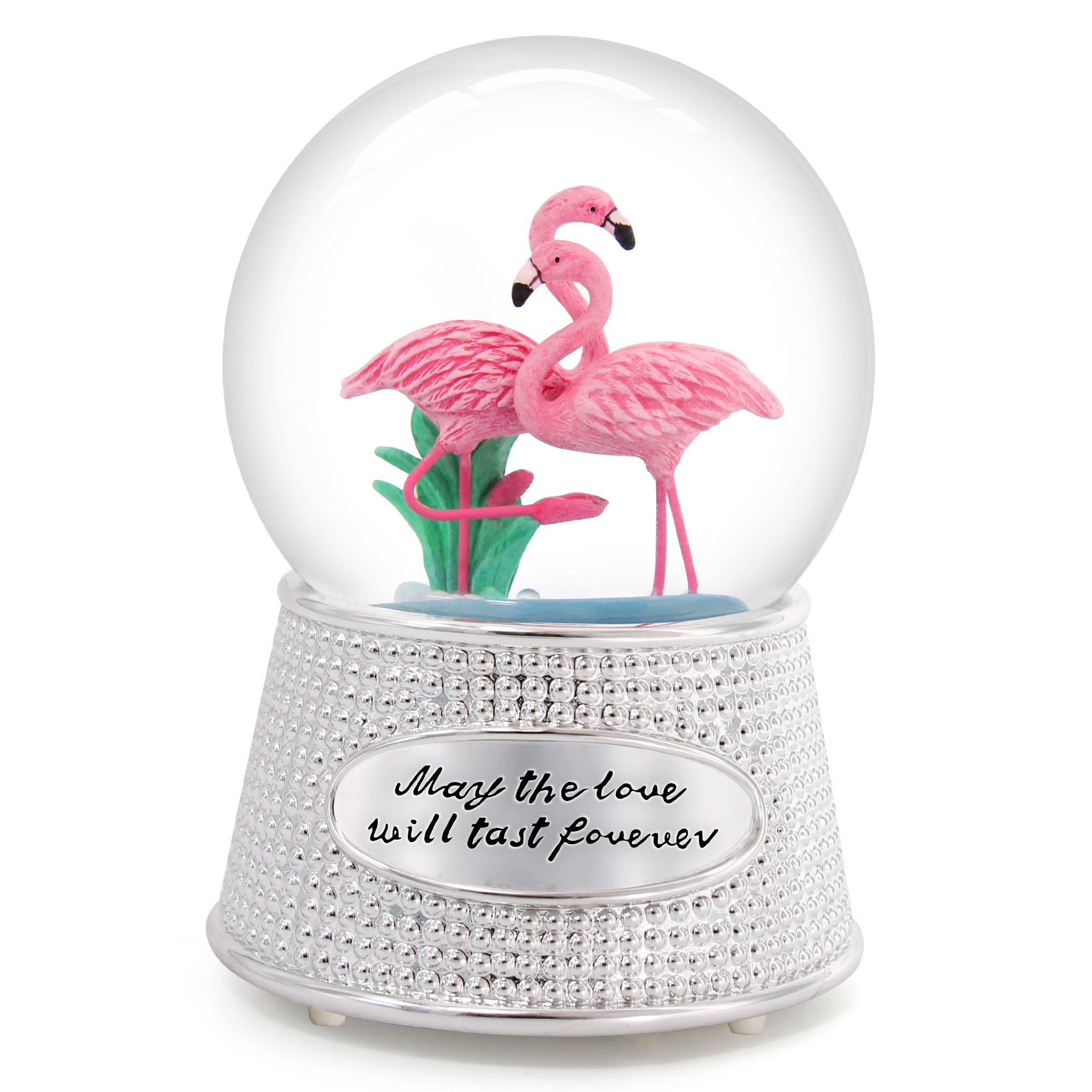QTMY Musical Snow Globes Pink Flamingo Ornament Music Boxes with Led Light Sequins Home Decor Gift for Her Girls