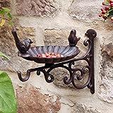 Outdoor Garden Cast Iron Hanging Basket Bird Bath Wall Mounted Hook Bracket 29cm