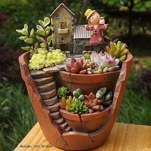 KING DO WAY Maceta Sky Garden de Resina para Jardín para Plantas, Cactus, Decoración de Casa de Hadas, para Casa o la Oficina: Amazon.es: Hogar