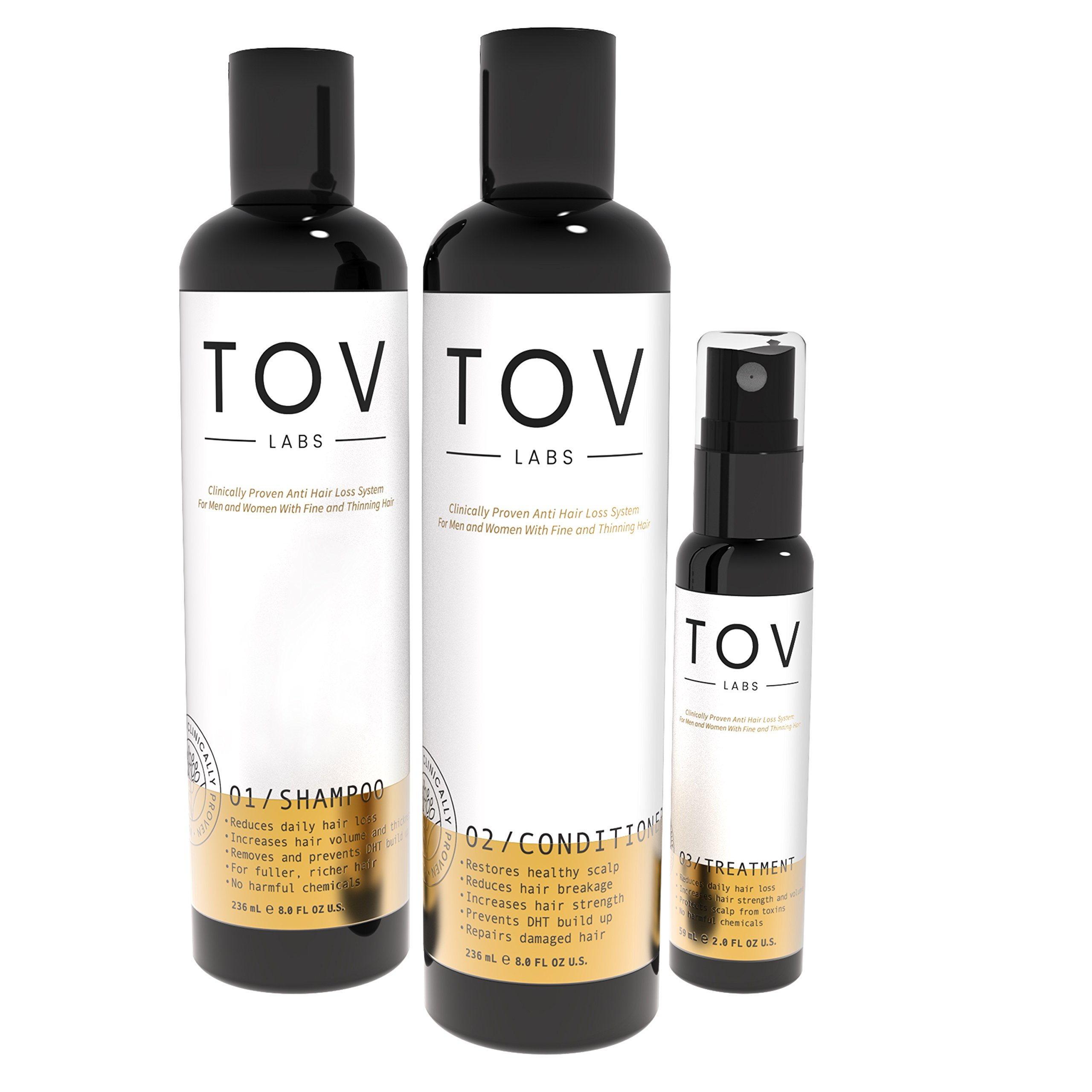 TOV LABS Clinically Proven, Naturally Based, Anti Hair Loss System for Men and Women with Fine and Thinning Hair. (Shampoo, Conditioner, Treatment)