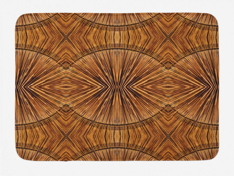 "Ambesonne Tribal Bath Mat, Boho Bamboo Pattern Prehistoric Eastern Jagged Wood Style Print, Plush Bathroom Decor Mat with Non Slip Backing, 29.5"" X 17.5"", Ginger"