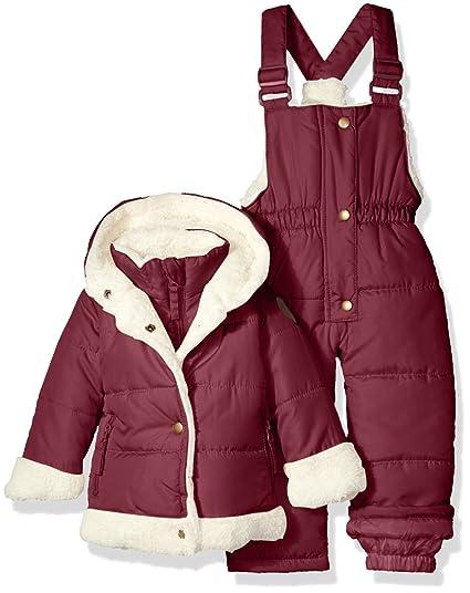 972272bd0 Catherine Malandrino Baby Girls' Bubble Snowsuit, Merlot, 12 Months ...
