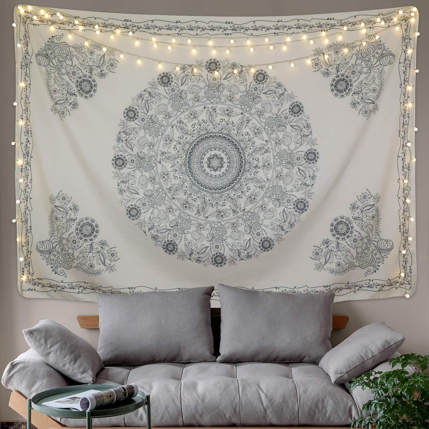 BLEUM CADE Tapestry Mandala Hippie Bohemian Tapestry Wall Hanging Medallion Floral Art Tapestry Wall Hanging Indian Dorm Decor for  Room