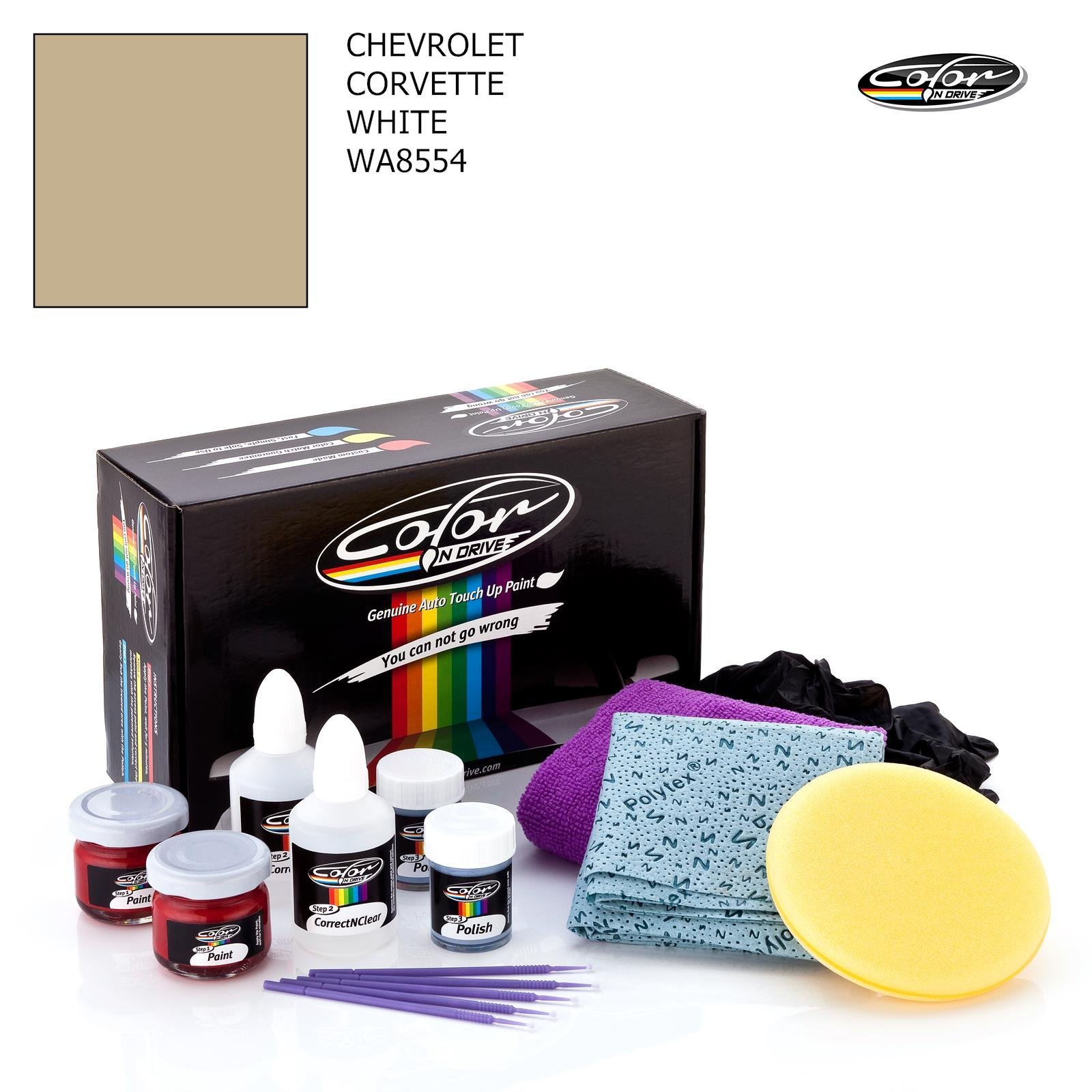 CHEVROLET CORVETTE / WHITE - WA8554 / COLOR N DRIVE TOUCH UP PAINT SYSTEM FOR PAINT CHIPS AND SCRATCHES / PRO PACK
