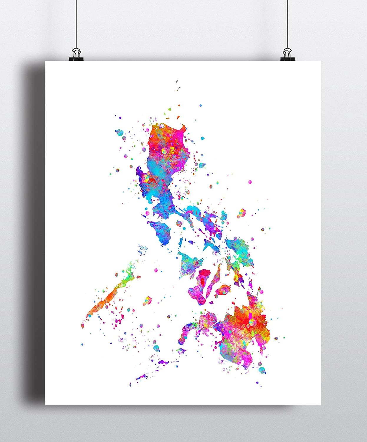 Philippines Watercolor Map Wall Art Home Decor Poster Artwork Print UNFRAMED