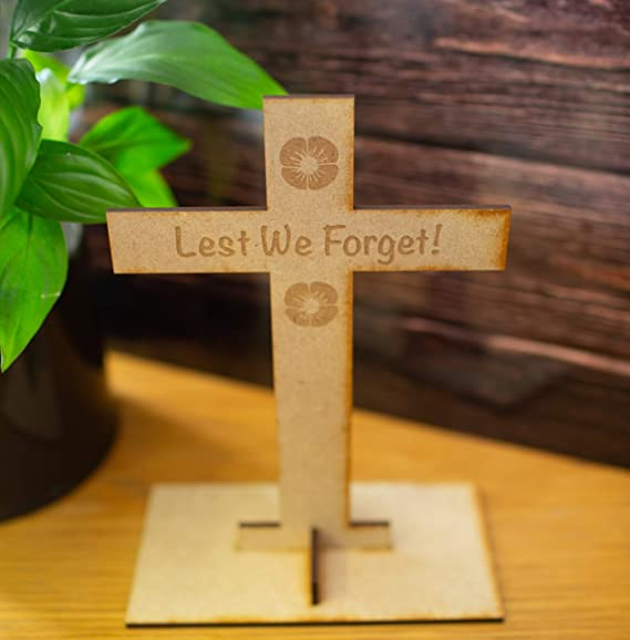 Wooden Cross for Remembrance day or Armistice day Home Accessories influent-uk Lest we forget