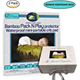 """GREEN COMFY BABY Pack and Play Protector 2/pack ORGANIC BAMBOO All-IN-ONE sheet/protector by WATERPROOF 3 layers mini-crib fitted sheet playpen pad cover +6"""" deep. NO CHEMICAl, HYPOALLERGENIC"""