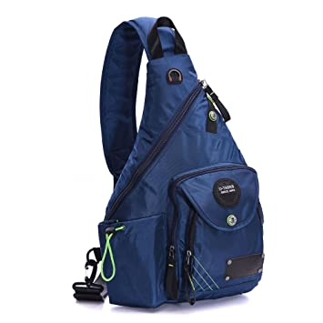 Amazon.com: Large Nylon Sling Bag Backpack Book Bag Hiking Bag for ...
