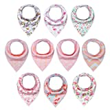 Amazon Price History for:10-Pack Baby Girl Bandana Drool Bibs for Drooling and Teething by MiiYoung