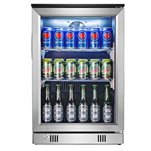 Advanics Frost Free Beverage Refrigerator 20 Inch Wide 110 Can Mini Fridge Cooler with LED Lighting & Lock for Beer Cola or Soda, Stainless-Steel Trimed & Tempered Glass Door