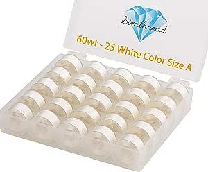 Simthread, 25 piezas de bobina preenrollada blanca tamaño A clase 15 (SA156) 60 WT con caja de plástico transparente 70D/2 para Brother bordado hilo de coser máquina DIY: Amazon.es: Hogar