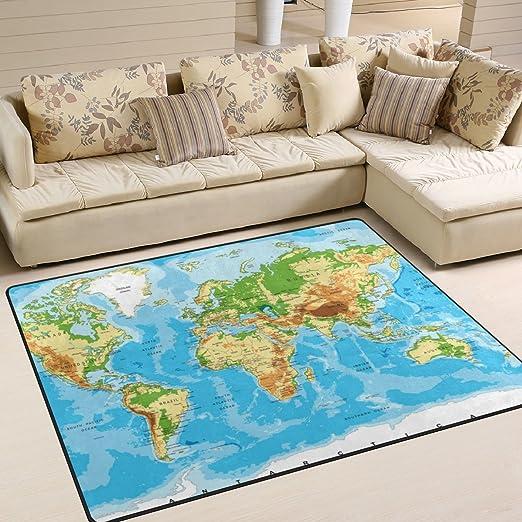 Amazon Com Alaza U Life World Map Large Area Rug Runner Floor Mat