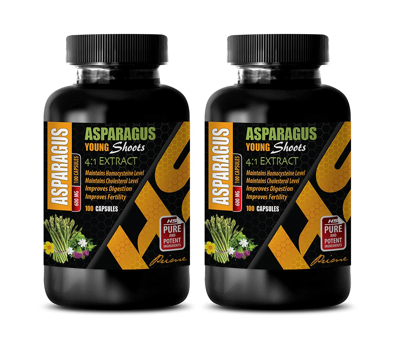 Memory Vitamins Brain - Asparagus Young Shoots 4:1 Extract 600 MG - antioxidant Powder Supplement - 2 Bottles 200 Capsules