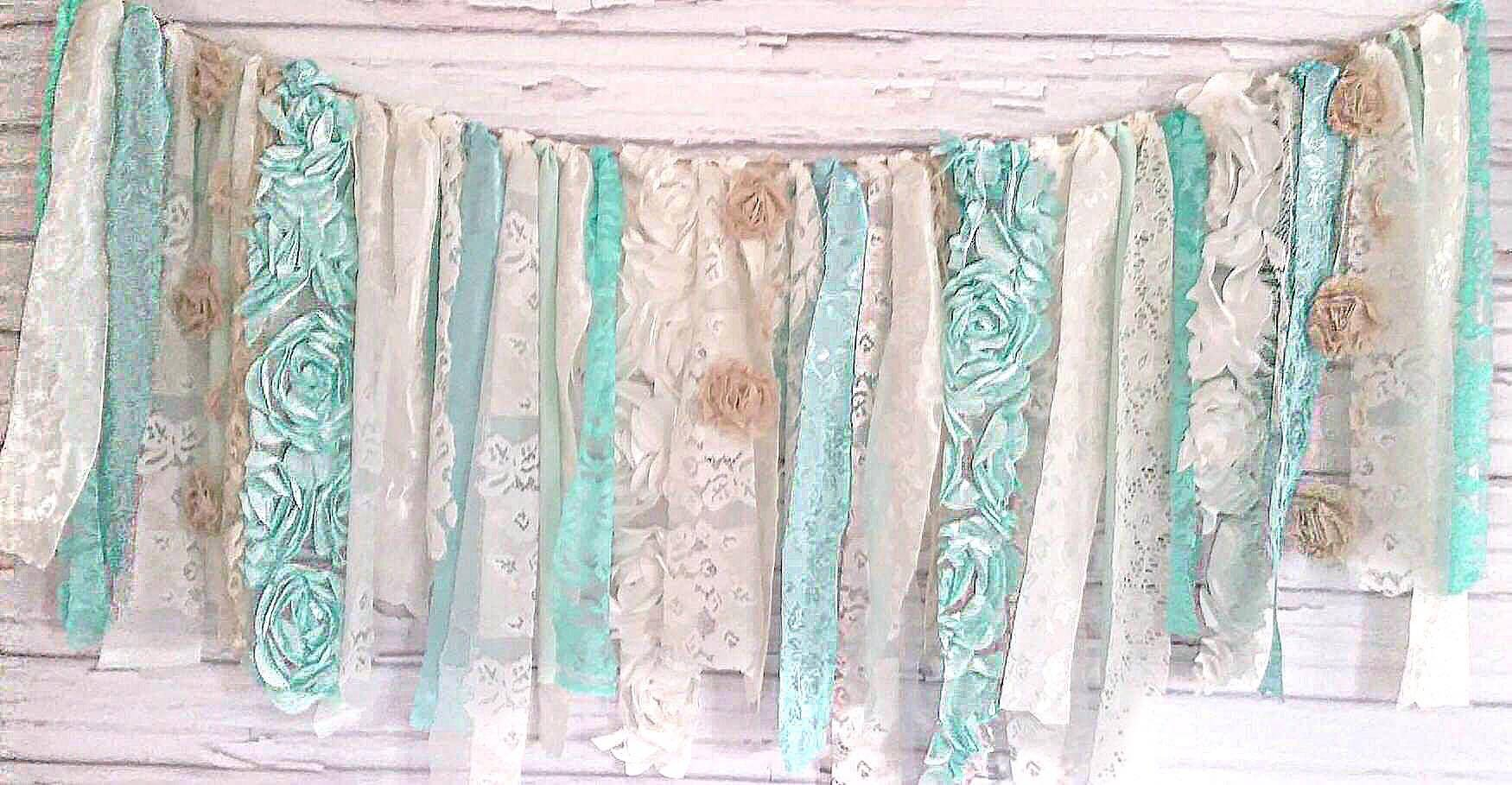 Mint Shabby Chic Garland Rag Tie Banner: ~ Photo Shoot ~ Vintage ~ Wedding Decor ~ Nursery ~ Bridal Shower ~ Gender Reveal Parties ~ Decorations ~ Photo Props ~ Banner ~ Wall Decor!  (4 FEET WIDE)