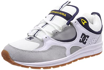 240738c6d293 Mens DC Kalis Lite White Grey Yellow Lightweight Skate Trainers Shoes Size 9