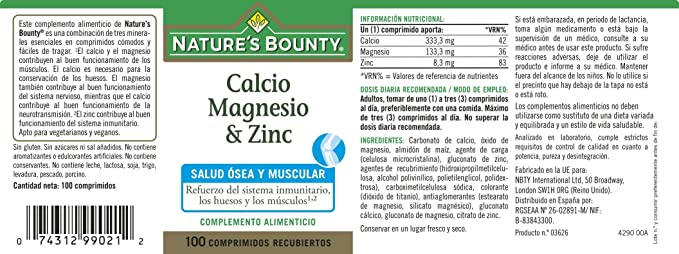 NATUREŽS BOUNTY - CALCIO MAGNESIO ZINC 100comp NAT. BOUNTY: Amazon.es: Salud y cuidado personal
