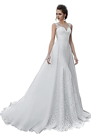 Lanesta Woman S Lace Mermaid Wedding Dress With Train And Buttons