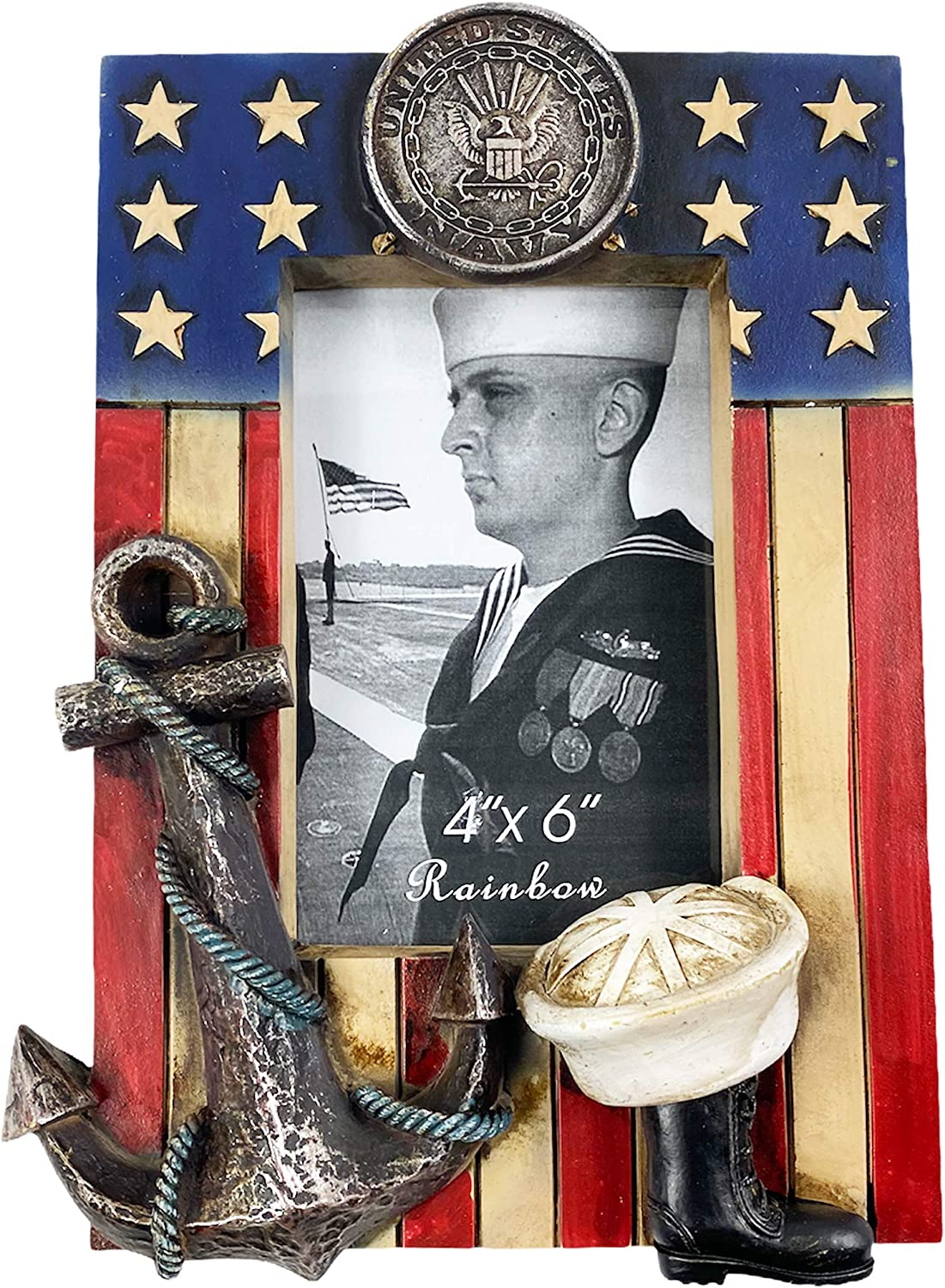 Urbalabs US Military Navy Picture Frame 4 x 6 Military Gifts Service Member Decor Photo Frame Wall Hanging or Standing 4x6 Picture Frames United States US Flag Military Picture Box