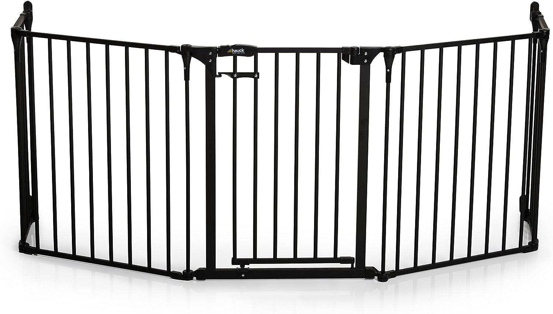 en m/étal recouvert materiel de fixation inclus noir gris anthracite longueur 2,67 m et hauteur 75 cm Grille de Protection de Chemin/ée Firplace Guard XL pour enfants Hauck chiens et chats avec porte