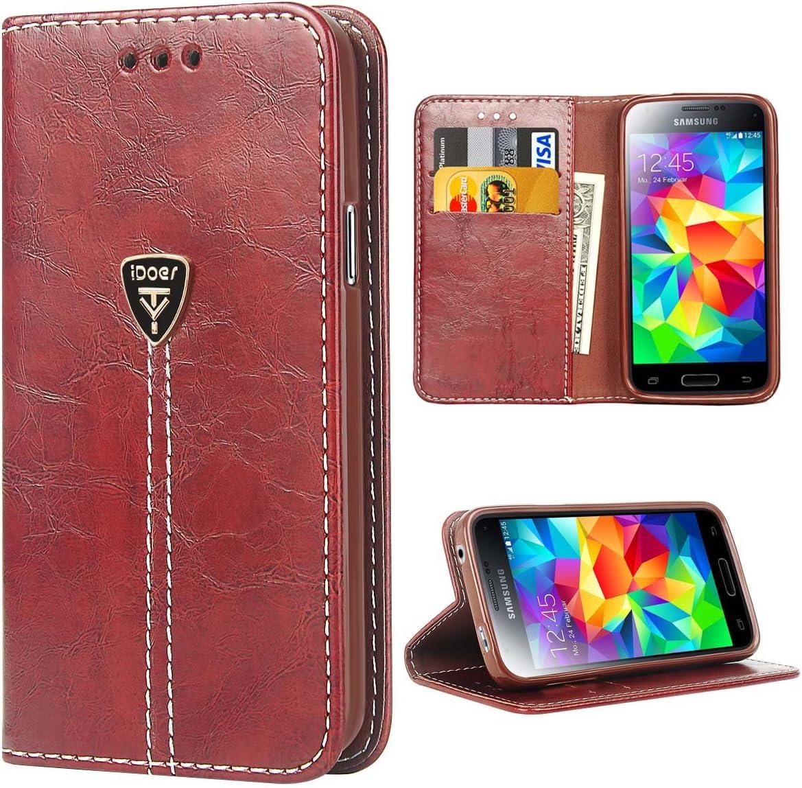 Carcasa para Galaxy S5, S5 Funda con Tapa Libro Piel y TPU