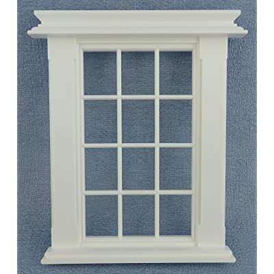 Melody Jane Dollhouse Miniature White Plastic Georgian Window Frame 12 Pane 1:24 Scale: Toys & Games