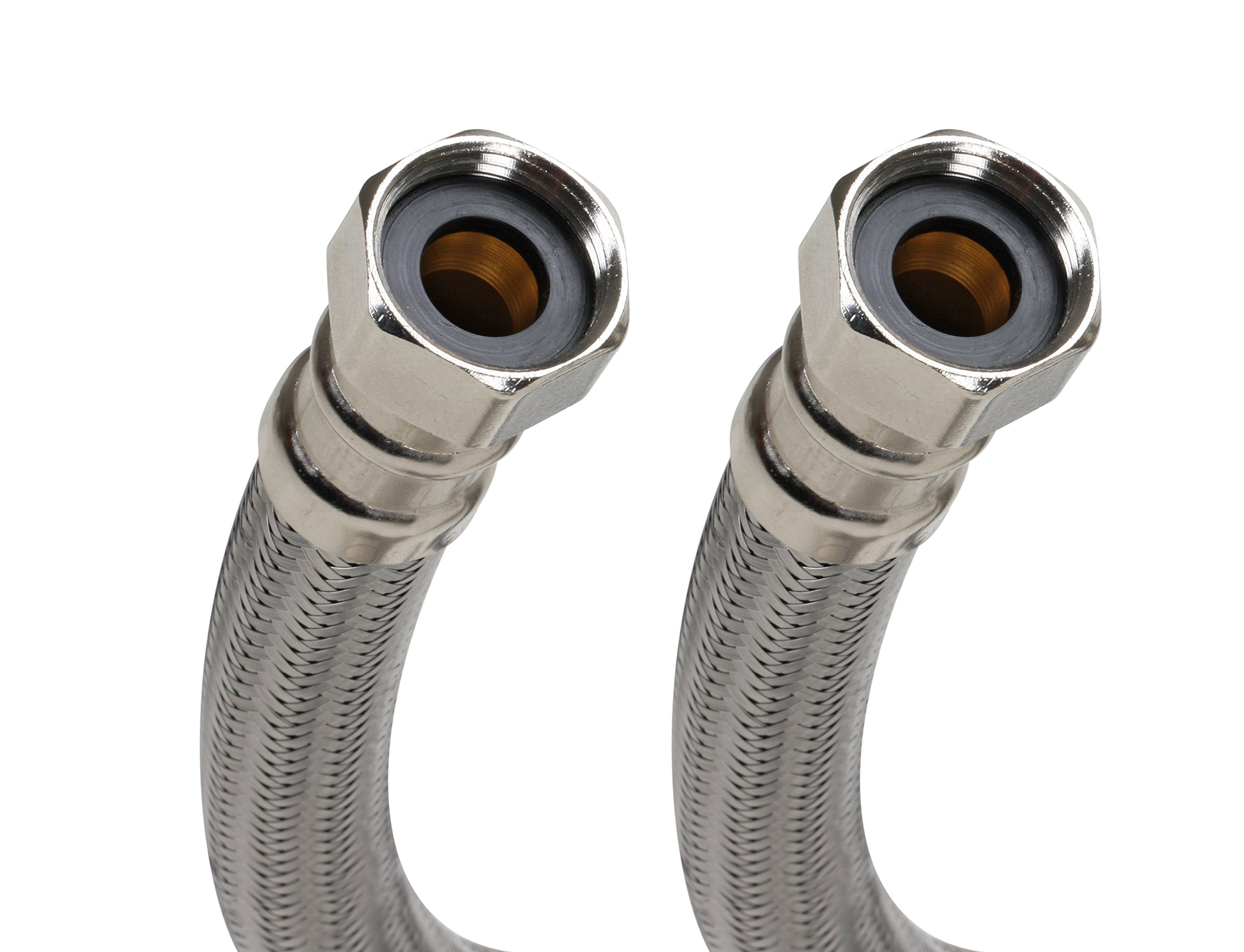 Fluidmaster B1H24 Stainless Steel Water Heater Connectors - 3/4'' Female Iron Pipe x 3/4'' Female Iron Pipe, 24'' Length