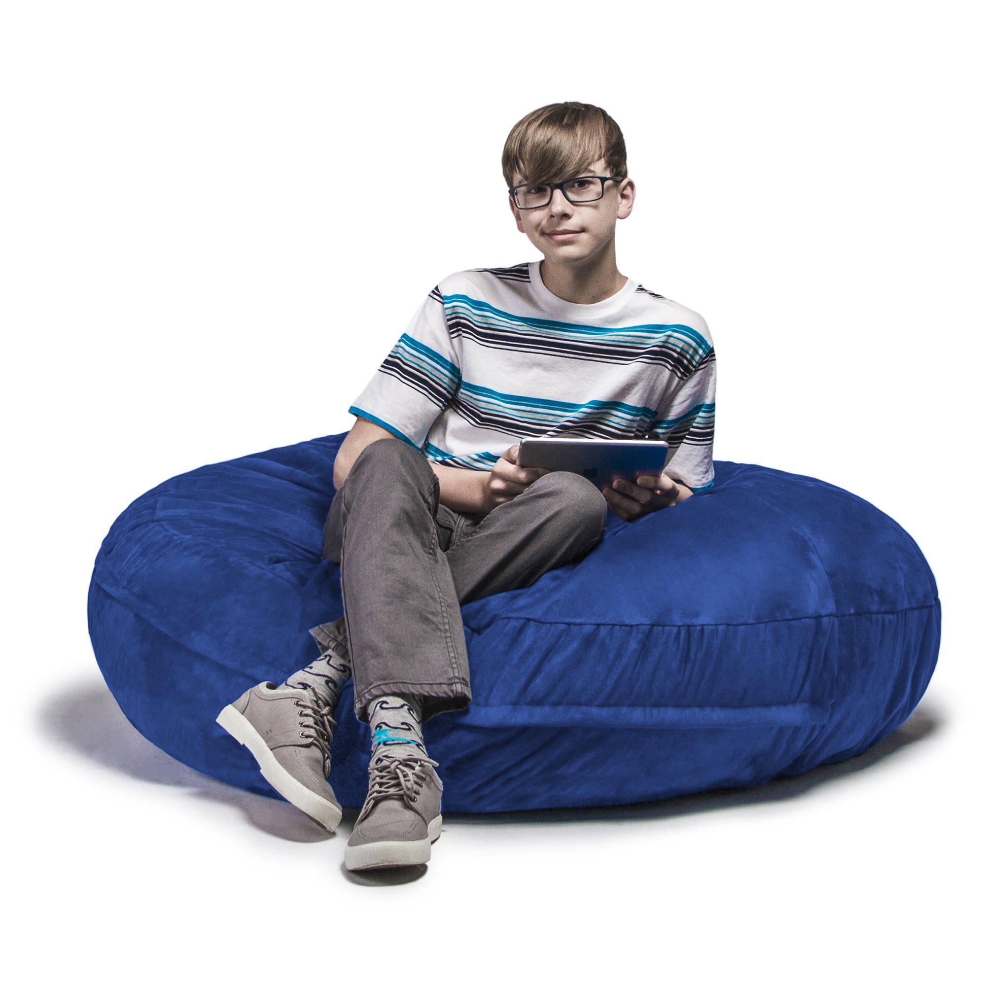 Jaxx Bean Bags Cocoon Junior Kids Bean Bag, 4-Feet, Blueberry Microsuede