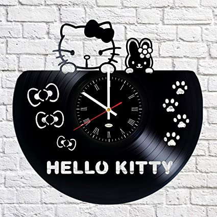 Vinilos Hello Kitty Pared.Hello Kitty Reloj De Pared De Disco De Vinilo Vintage Gran