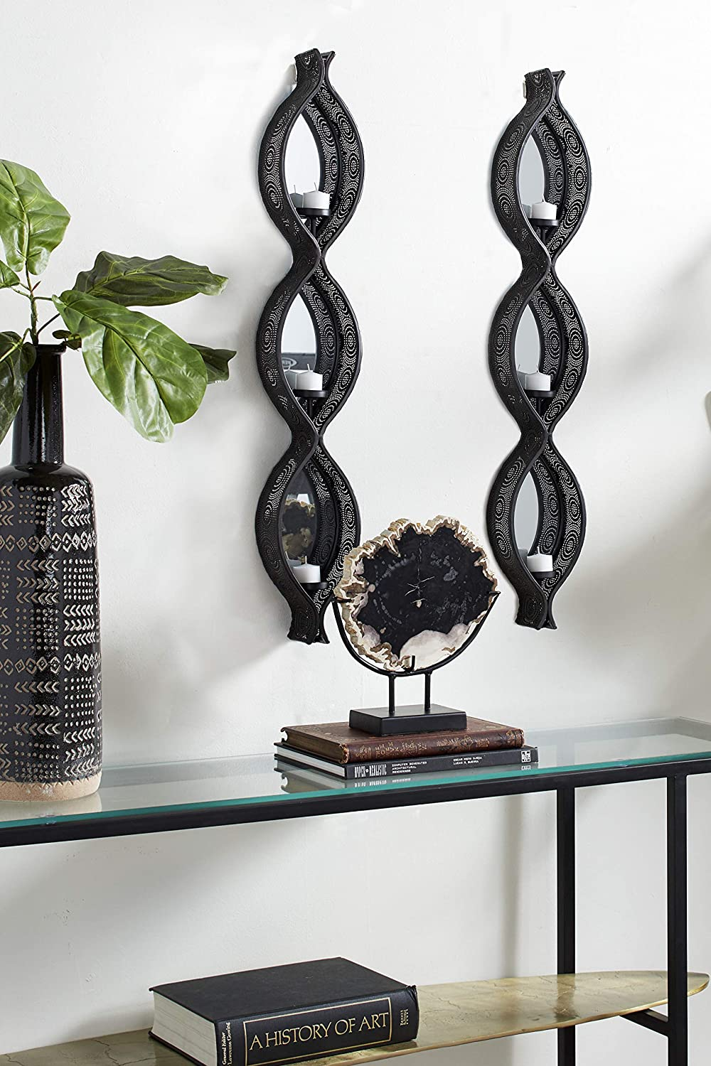 """Deco 79 82903 Eclectic Ellipse-Shaped Black Mesh Metal Wall Sconce Candle Holders with Mirrors, Set of 2: 5"""" x 32"""""""