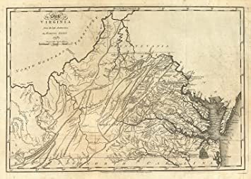 Amazoncom 1794 Old Historical Colonial Wall Map Virginia