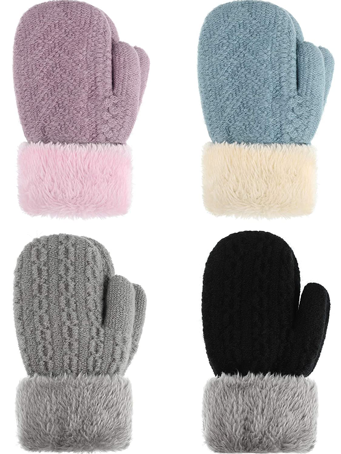 Magnificent Baby Unisex Fleece Baby Mittens Fuzzy Lined With Magnet Mitten Clips