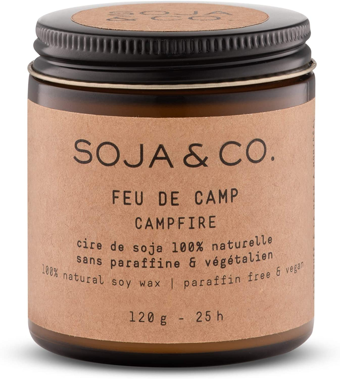 Burns 25 Hours,Feu de Camp//Campfire Aroma Scented Candles for Home 4oz SOJA/&CO Long Burning Glass Jar Soy Fragrance Candles Aromatic Soy Wax Candle in Glass Jar