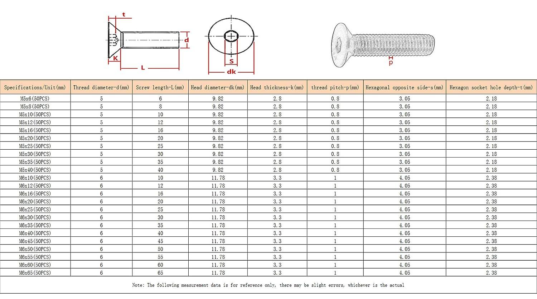 ORANXIN Clavos Pernos Hexagonales M5 M6 Acero Carbono Avellanada Allen Cabeza Tornillos de M/áquina Pernos Ferreter/ía