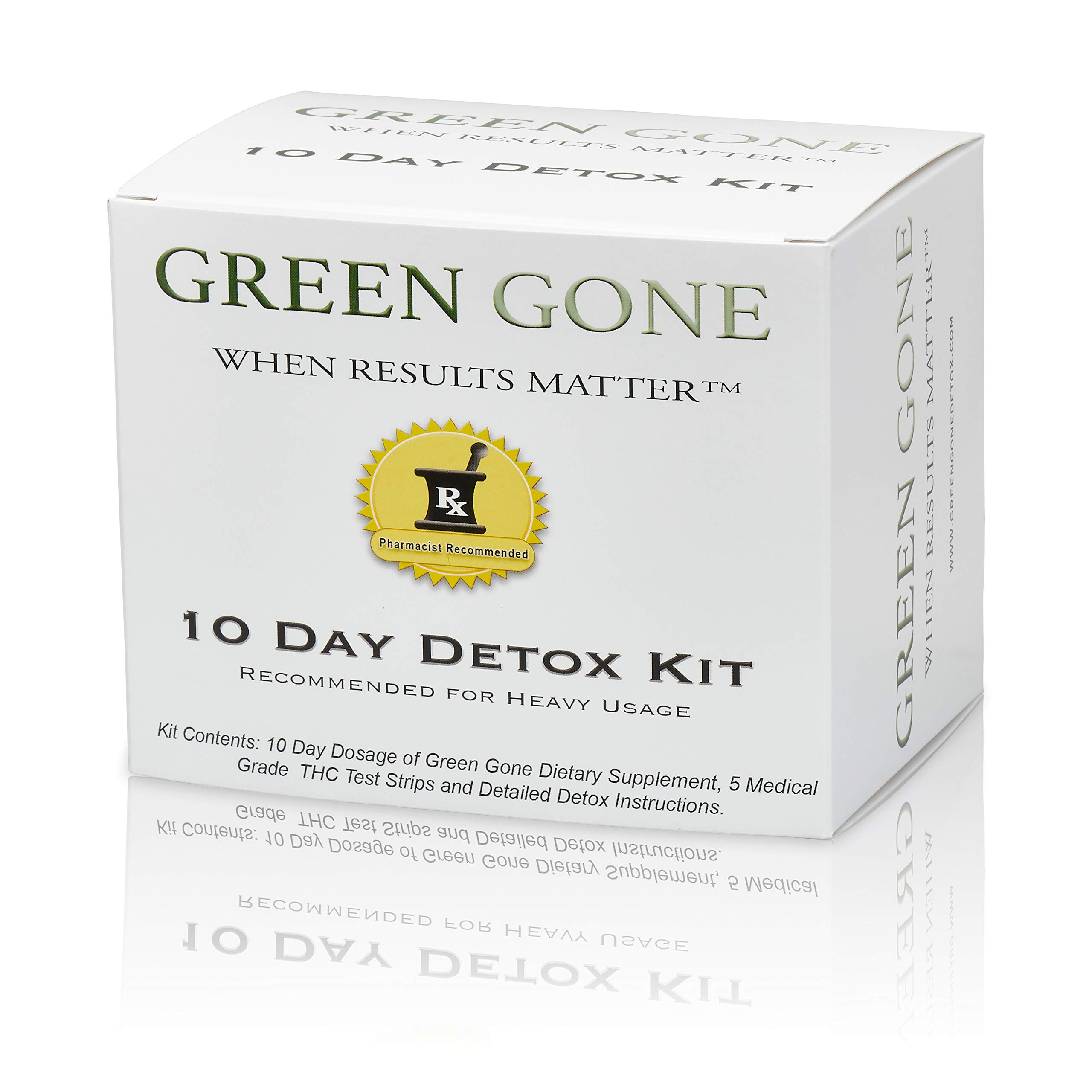 Green Gone 10 Day THC (Marijuana) Detox Kit - Permanent Cleanse, (for Heavy Usage) with 5 THC Test Strips! by Green Gone LLC