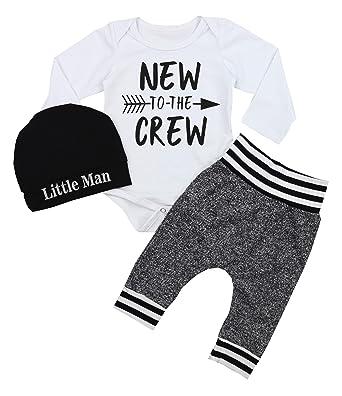 ab33f2c33 Amazon.com  Newborn Baby Boy Clothes to The Crew Letter Print Romper ...
