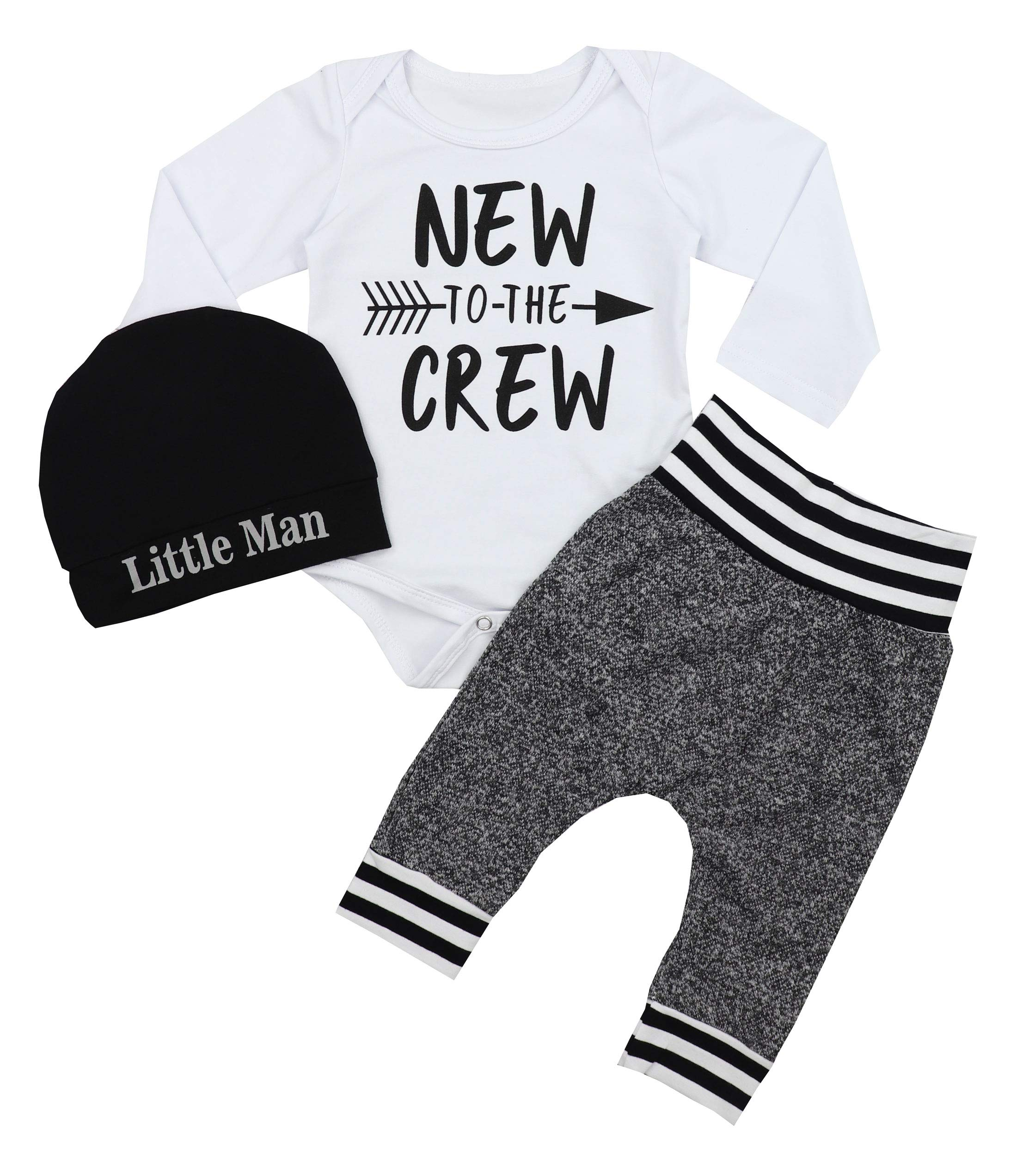 Newborn Baby Boy Clothes New to The Crew Letter Print Romper+Long Pants+Hat 3PCS Outfits Set 0-3 Months White