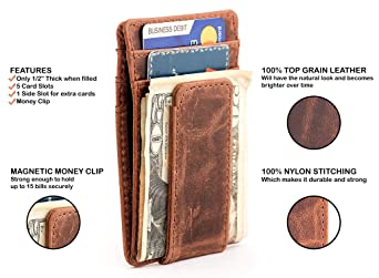 RAWHYD Top Grain Leather Slim Minimalist Wallet For Men with Magnetic Money  Clip