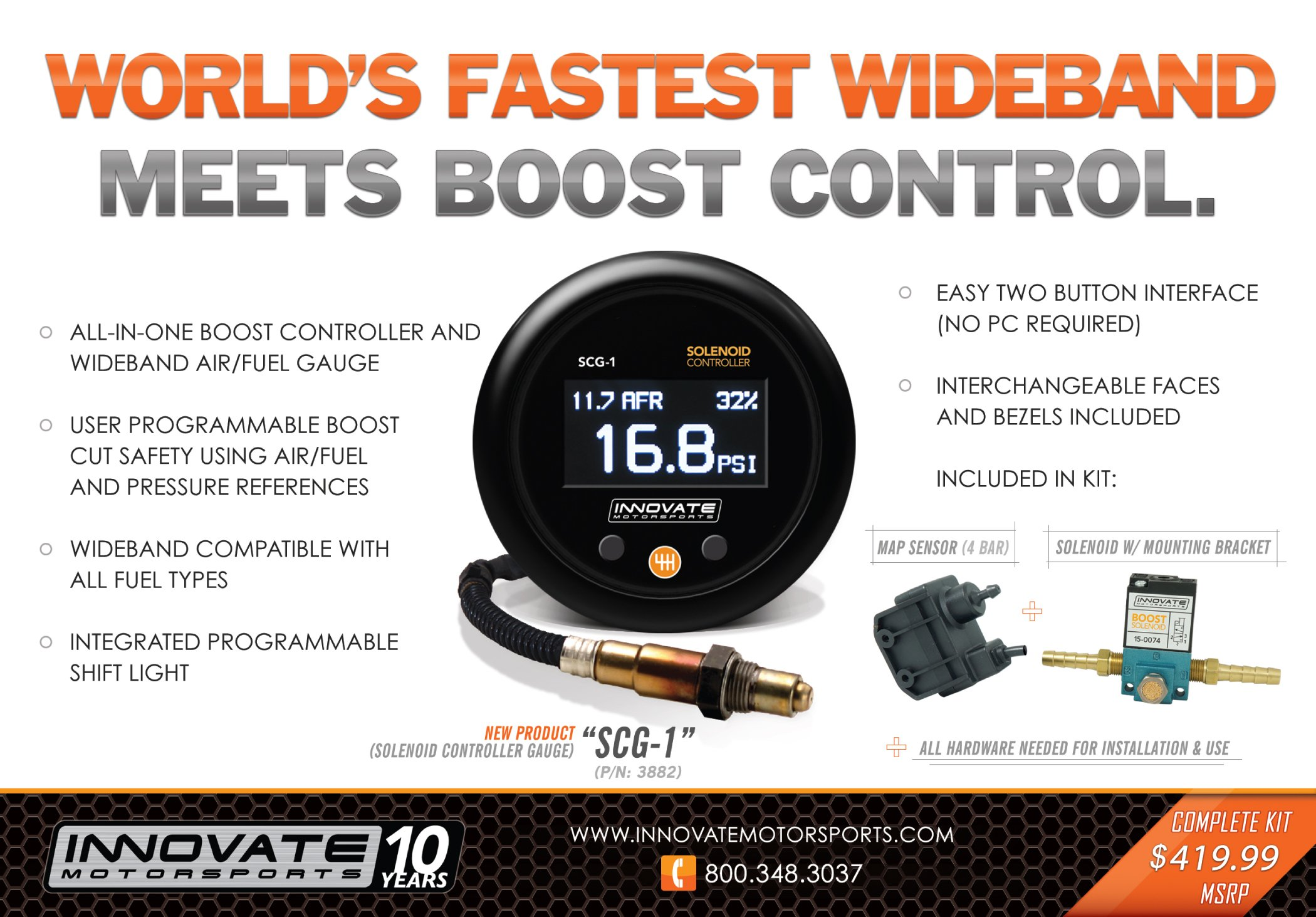 Innovate Motorsports (3882 SCG-1 Solenoid Boost Controller and Air/Fuel Ratio Gauge Kit by Innovate Motorsports (Image #6)