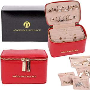 Angelina's Palace Snakeskin Pattern Jewelry Organizer Case Bridesmaid Gifts Travel Bag Vegan Leather Box for Necklace Earring Bracelet Ring(Red)
