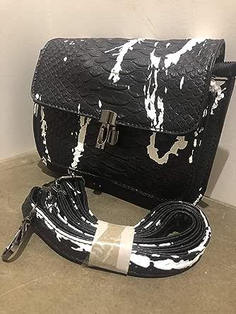 Small learher Black&white crossbody bag