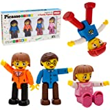 PicassoTiles Magnetic 4 Family Action Figures Toddler Toy Magnet Expansion Pack Educational Add-on STEM Learning Kit Toys Pre