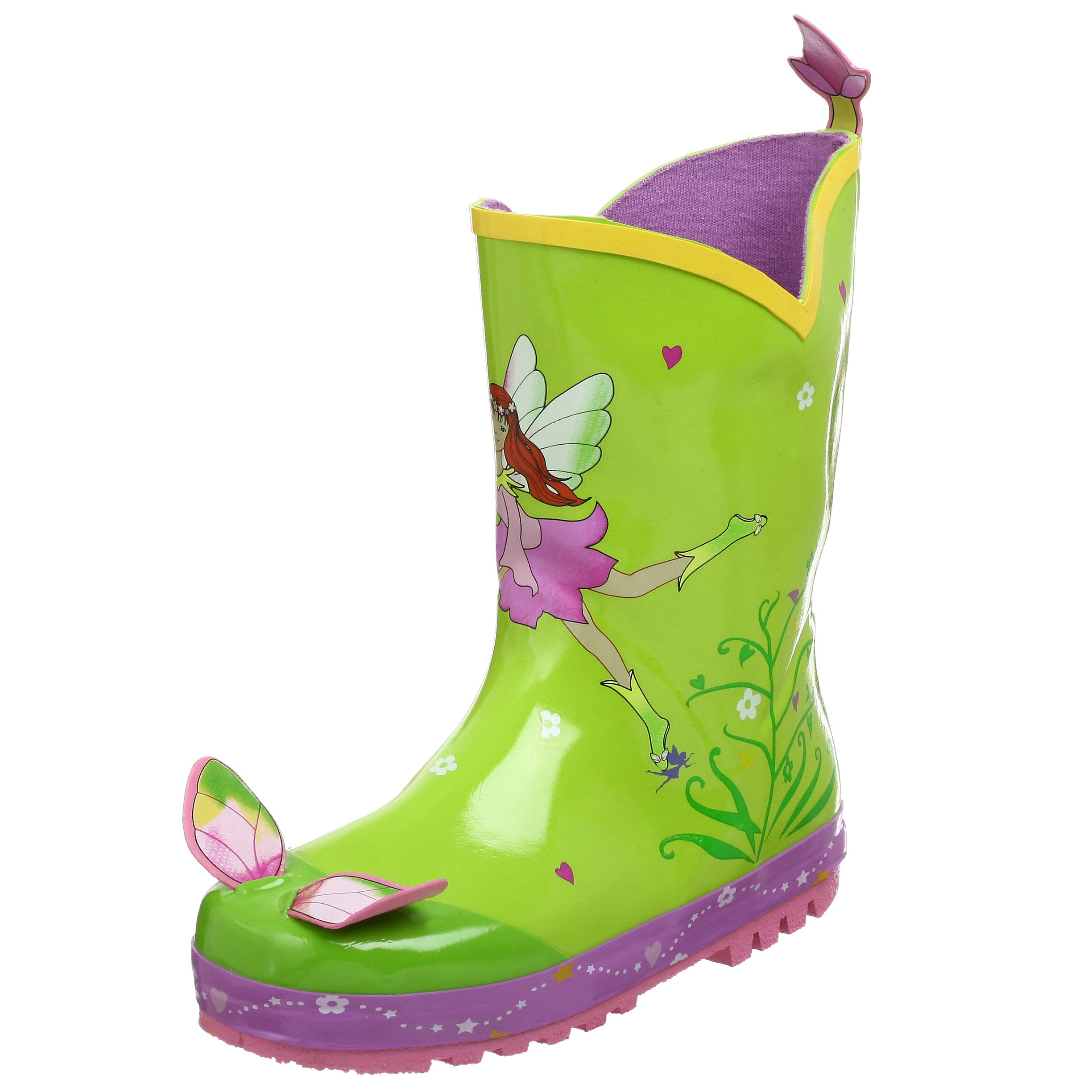 Kidorable Green Fairy Natural Rubber Rain Boots With Fun Flower Pull On Heel Tab (Big Kid), 2 M US