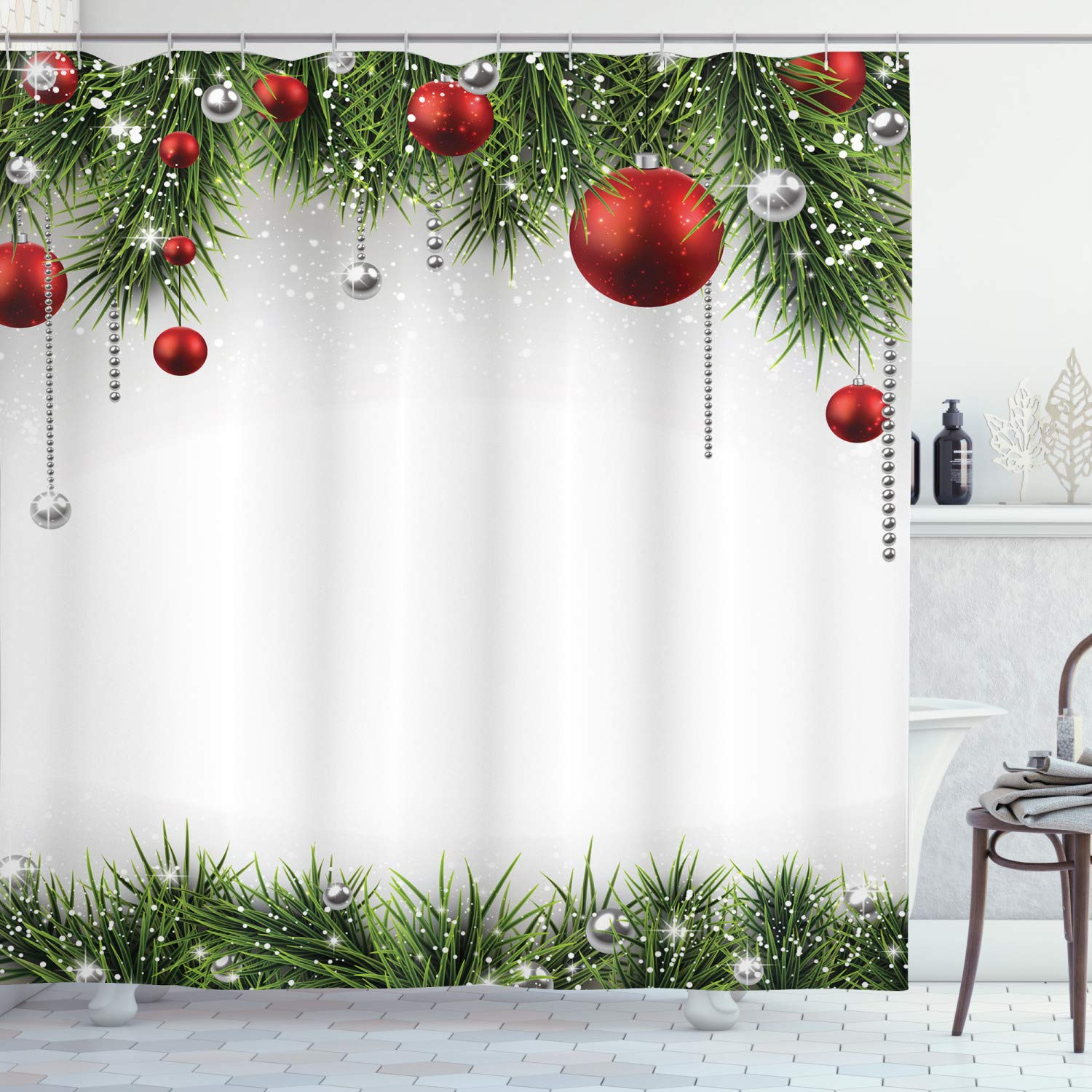 Christmas Shower Curtains Amazon.Ambesonne Christmas Shower Curtain Cloth Fabric Bathroom Decor Set With Hooks Baubles Pine Tree 70 Long