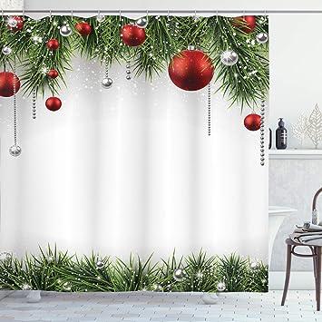 Christmas Shower Curtain.Ambesonne Christmas Shower Curtain Classical Christmas Ornaments And Baubles Coniferous Pine Tree Twig Tinsel Print Cloth Fabric Bathroom Decor Set