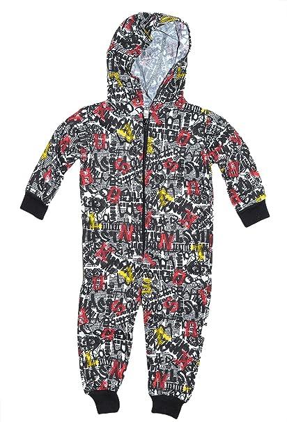 Niñas Niños todo en uno niños Onsie Mono con capucha pijama con cremallera nuevo tamaño 5