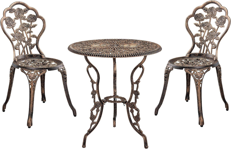 [casa.pro] Set bistro hierro fundido mesa + 2 sillas bronce look antiguo muebles para jardín, terraza, balcón