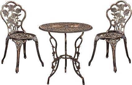casa.pro] Set bistro hierro fundido mesa + 2 sillas bronce look antiguo muebles para jardín, terraza, balcón: Amazon.es: Jardín