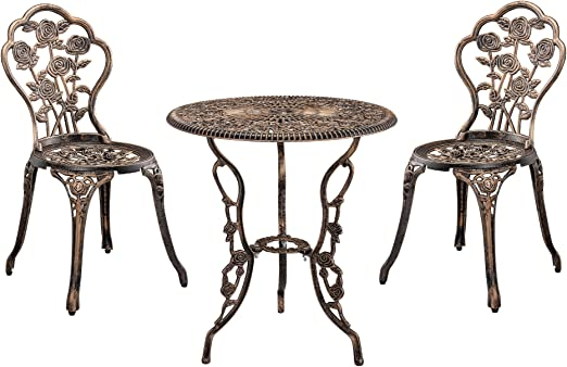 [casa.pro]®] Set de Bistro Kit de Bistro Vintage Ensemble de Table et de  Chaises de Jardin Fonte Bronze Brillant