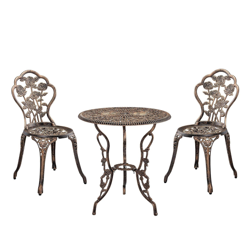 gartentisch bistro tisch 60cm rund bronze mit 2 st hlen franz sische. Black Bedroom Furniture Sets. Home Design Ideas